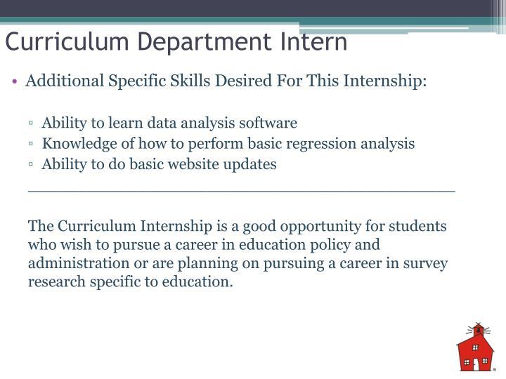 Curriculum Department Intern