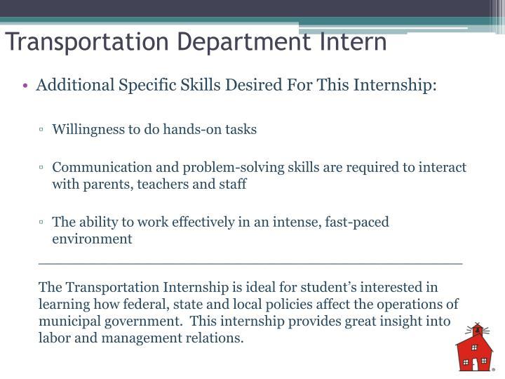 Transportation Department Intern
