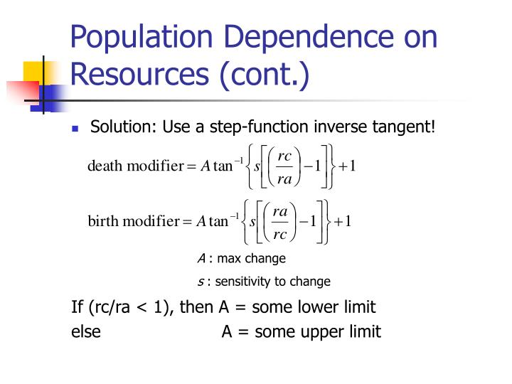Population Dependence on Resources (cont.)