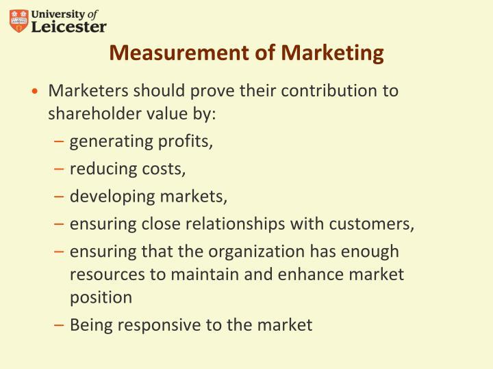 Measurement of Marketing