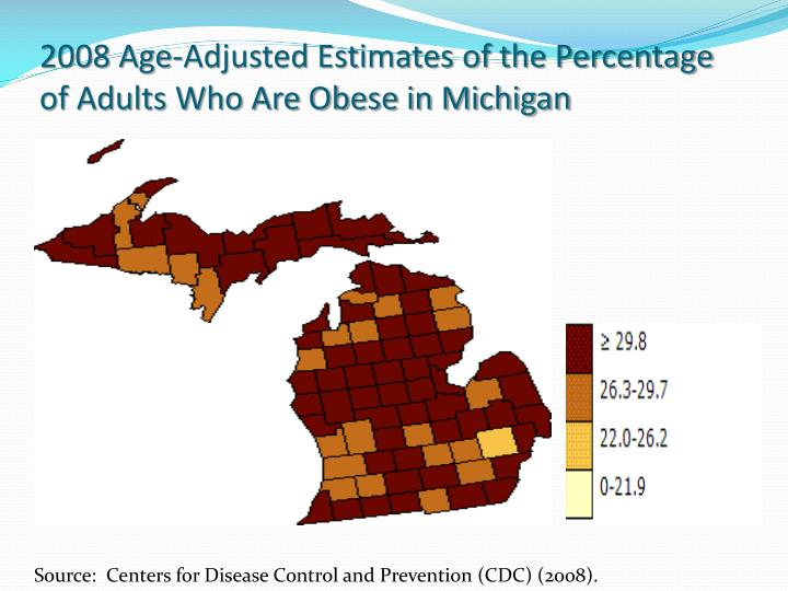 2008 Age-Adjusted Estimates of the Percentage of Adults Who Are Obese in Michigan