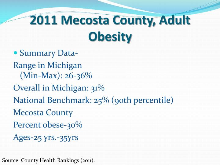 2011 Mecosta County, Adult Obesity