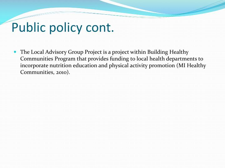 Public policy cont.