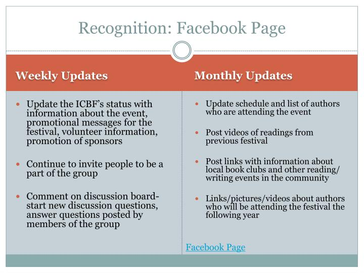 Recognition: Facebook Page