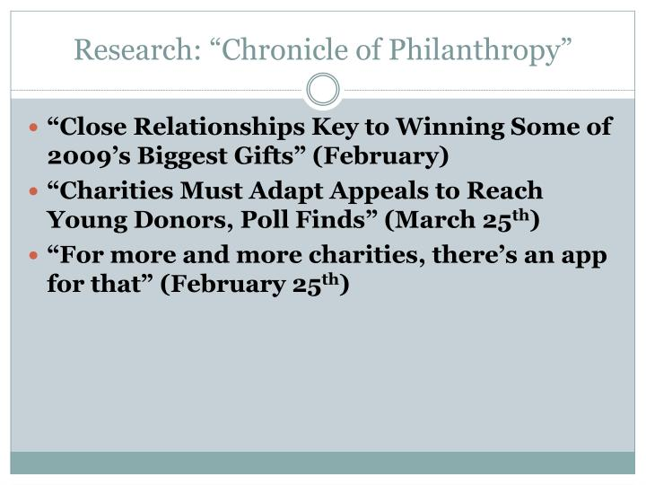 """Research: """"Chronicle of Philanthropy"""""""