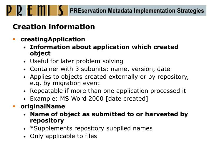 Creation information