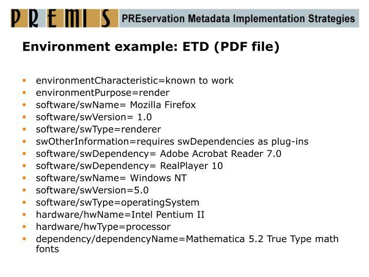 Environment example: ETD (PDF file)