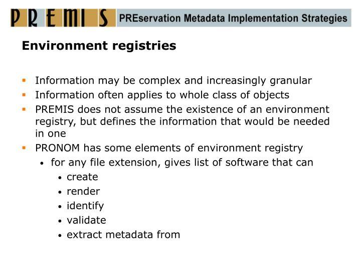 Environment registries