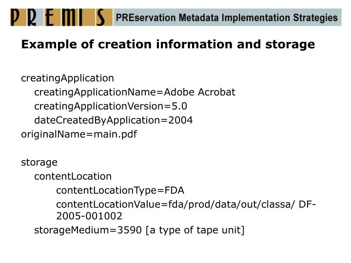 Example of creation information and storage