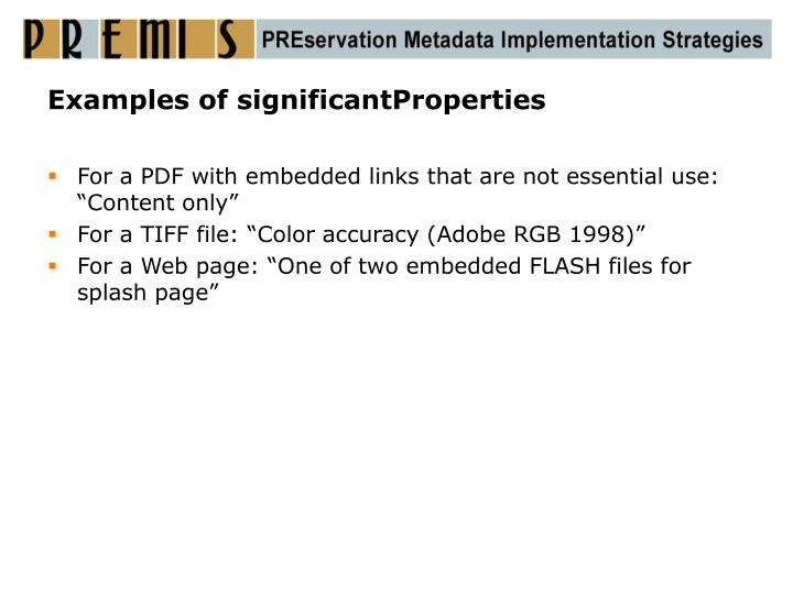 Examples of significantProperties