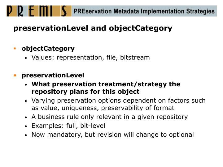 preservationLevel and objectCategory