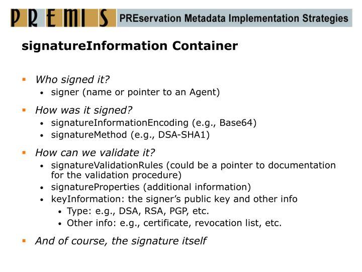 signatureInformation Container