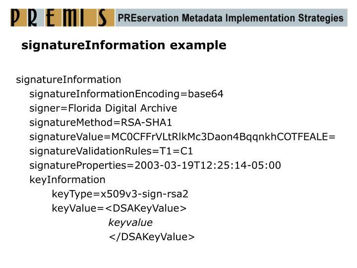 signatureInformation example