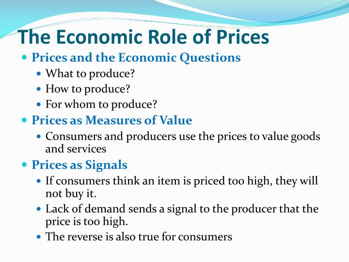 The Economic Role of Prices