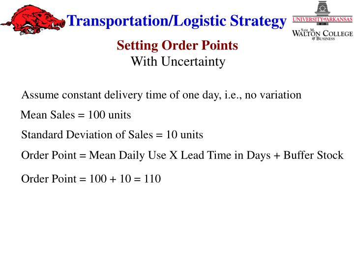 Assume constant delivery time of one day, i.e., no variation