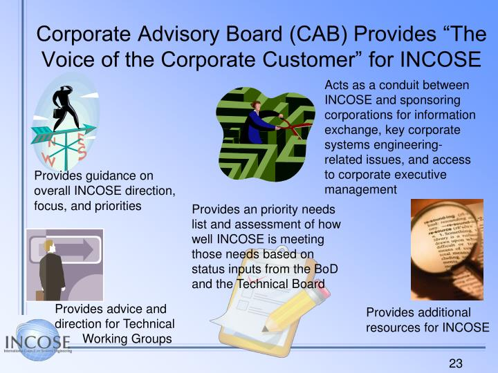 "Corporate Advisory Board (CAB) Provides ""The Voice of the Corporate Customer"" for INCOSE"