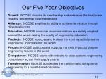 our five year objectives
