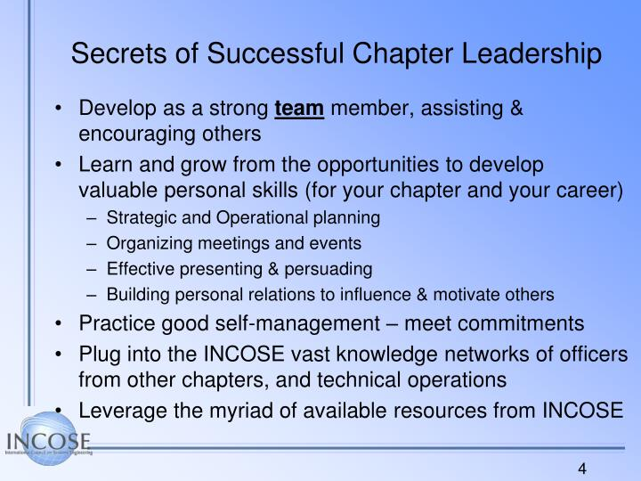 Secrets of Successful Chapter Leadership