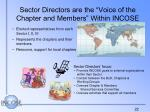 sector directors are the voice of the chapter and members within incose