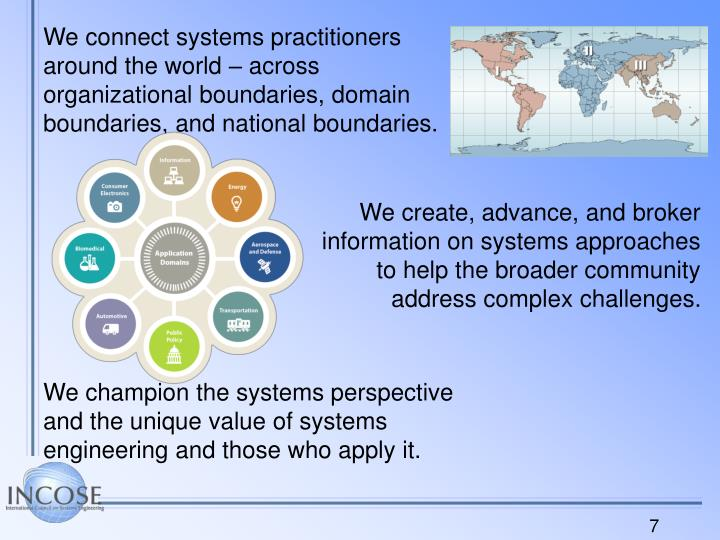 We connect systems practitioners around the world – across organizational boundaries, domain boundaries, and national boundaries.