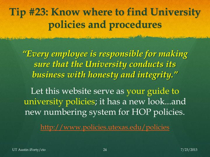 Tip #23: Know where to find University policies and procedures