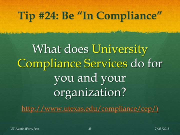 "Tip #24: Be ""In Compliance"""