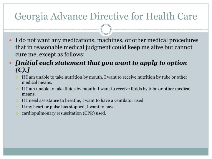 Georgia Advance Directive for Health Care