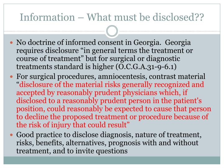 Information – What must be disclosed??