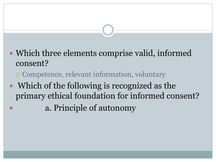 Which three elements comprise valid, informed consent?