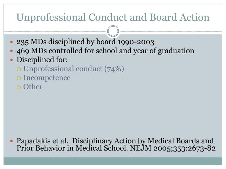 Unprofessional Conduct and Board Action
