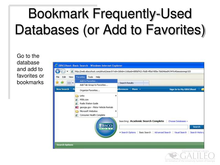 Bookmark Frequently-Used Databases (or Add to Favorites)
