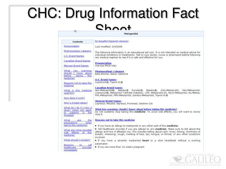 CHC: Drug Information Fact Sheet