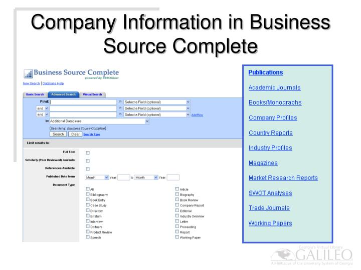 Company Information in Business Source Complete