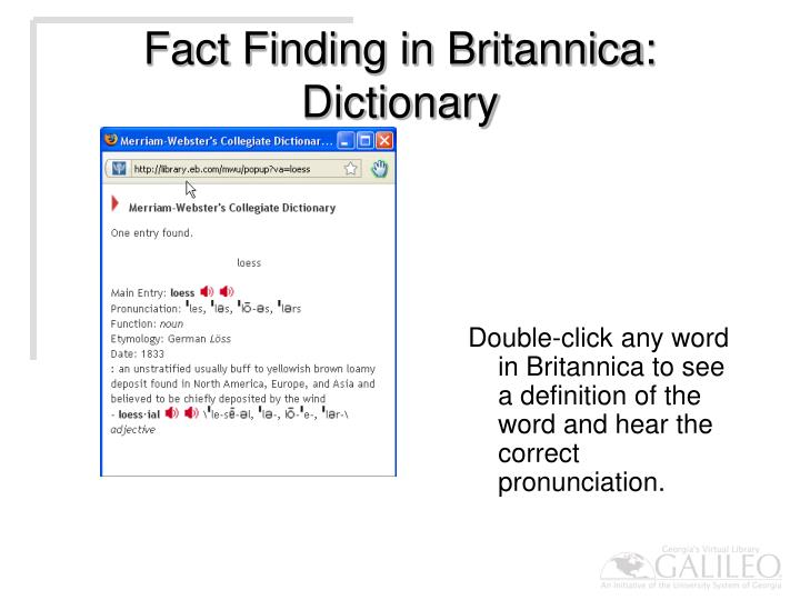 Fact Finding in Britannica: Dictionary
