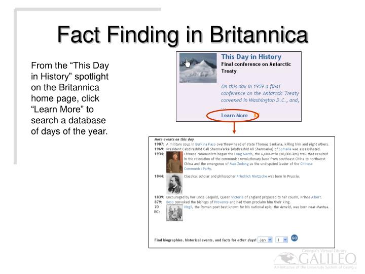 Fact Finding in Britannica
