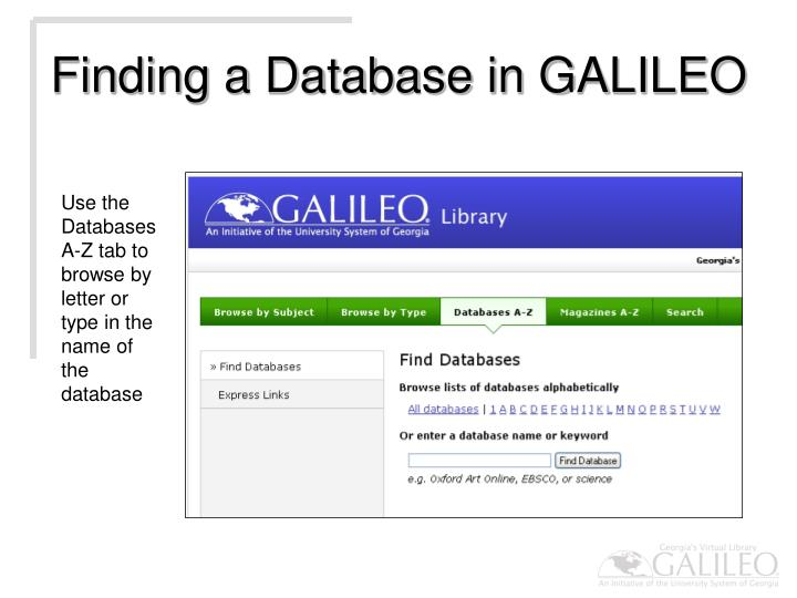 Finding a Database in GALILEO