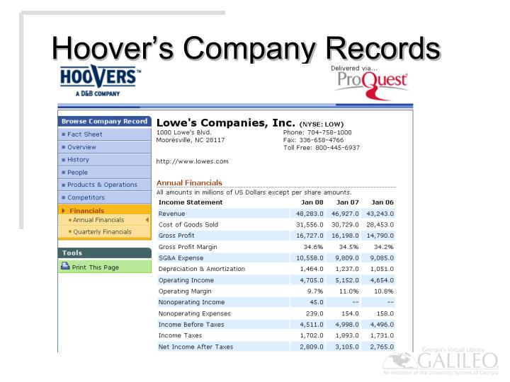 Hoover's Company Records