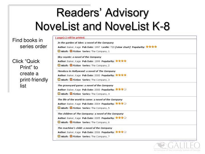 Readers' Advisory