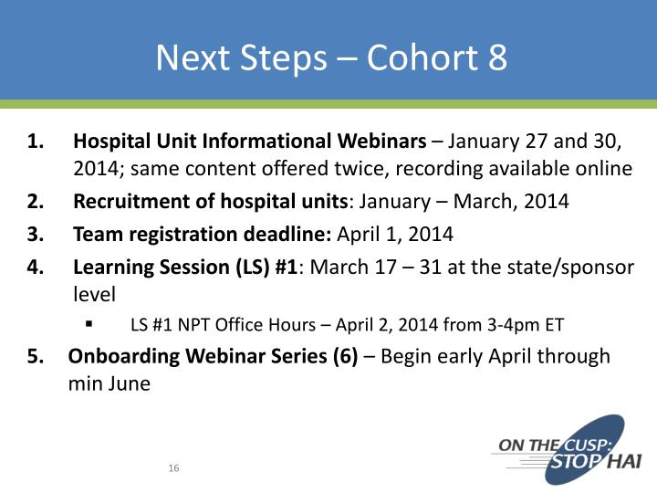 Next Steps – Cohort 8