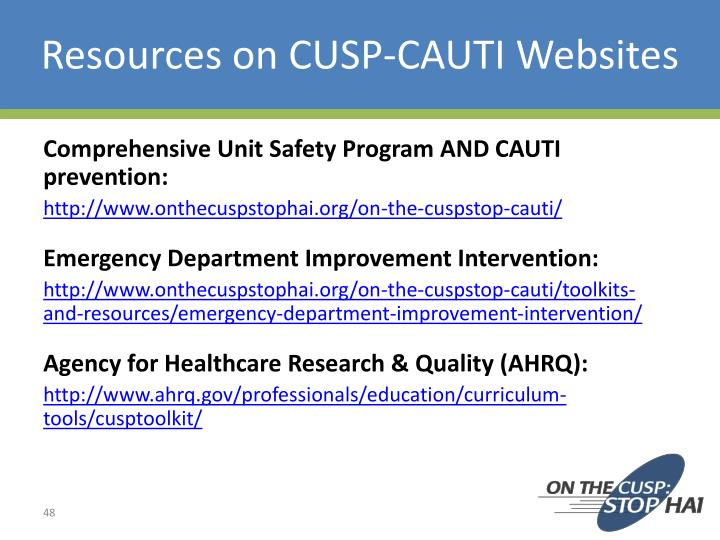 Resources on CUSP-CAUTI Websites