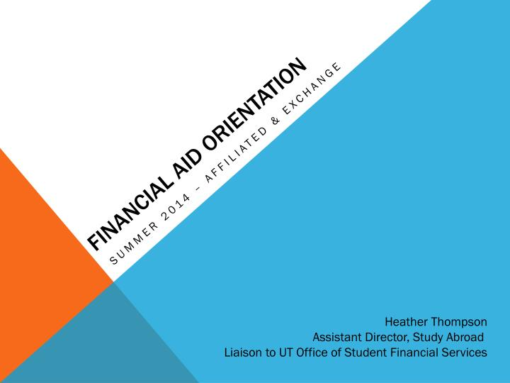 Financial aid orientation