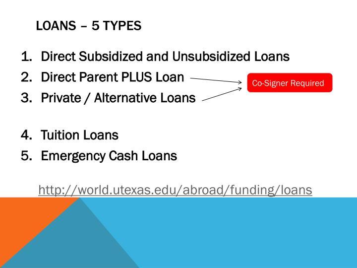 Loans – 5 Types