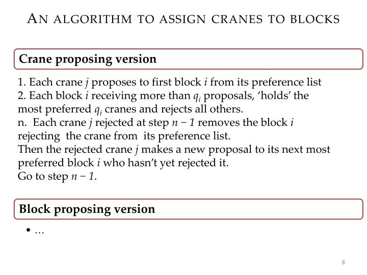 An algorithm to assign cranes to blocks