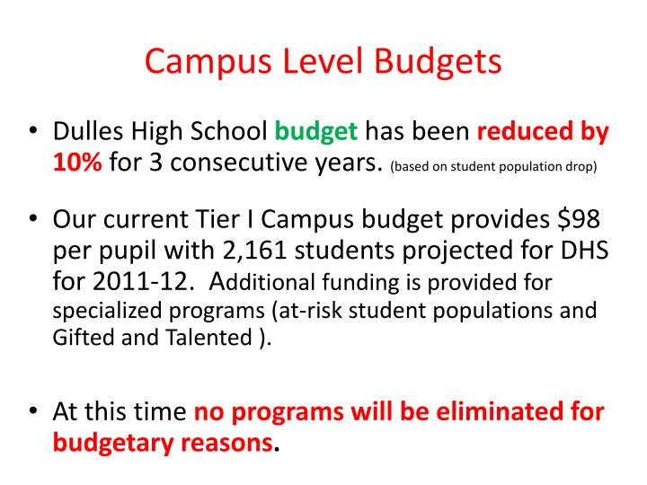 Campus Level Budgets