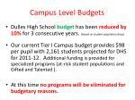 campus level budgets