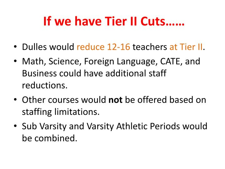 If we have Tier II Cuts……