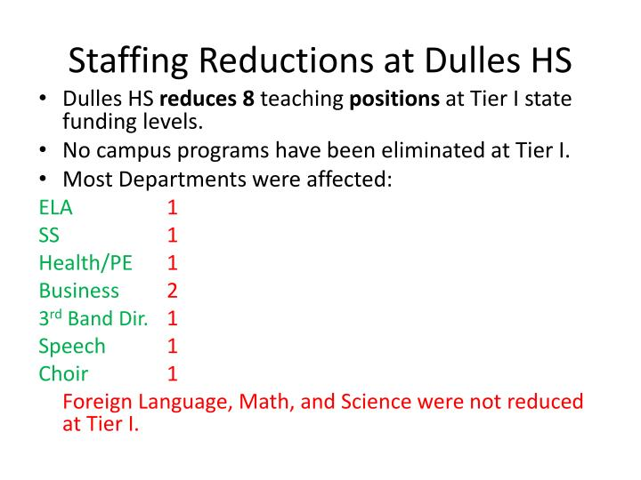 Staffing Reductions at Dulles HS