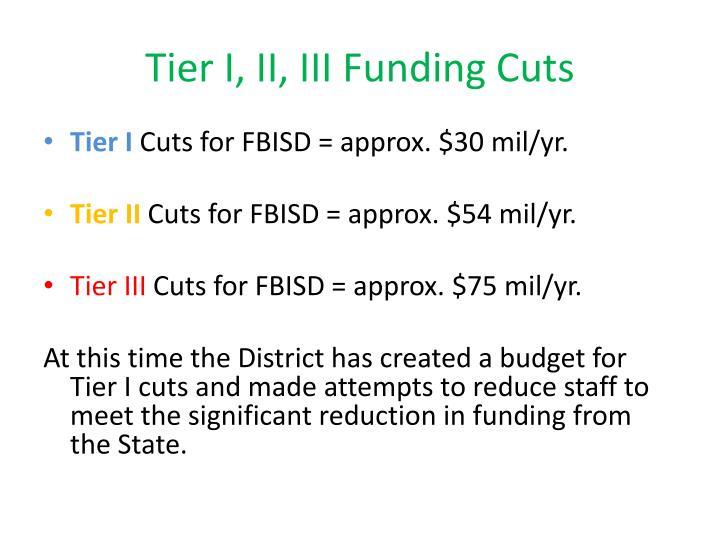 Tier I, II, III Funding Cuts