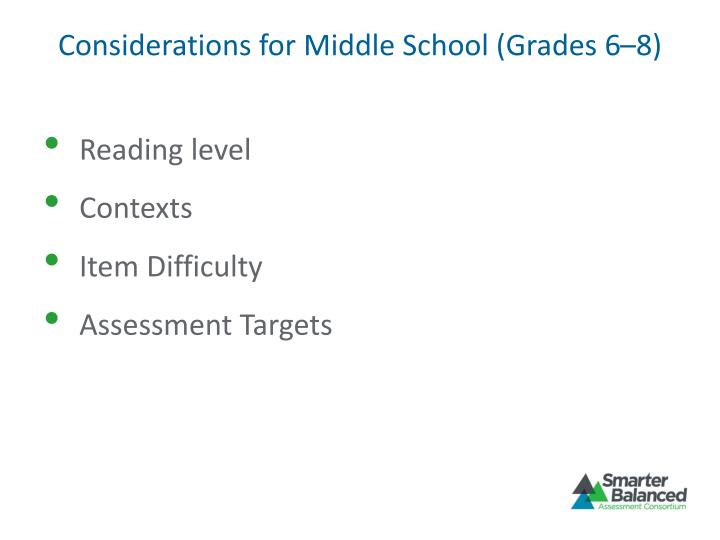 Considerations for Middle School (Grades 6–8)