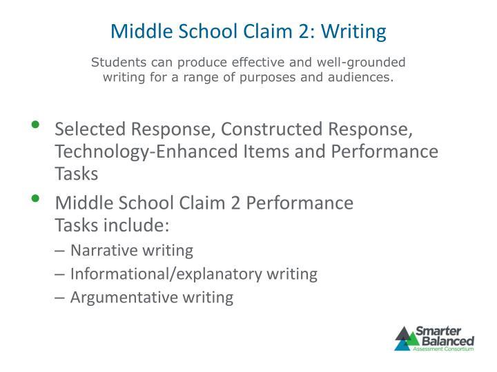 Middle School Claim 2: Writing